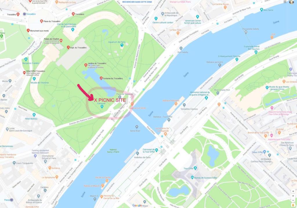 Trocadero gardens picnic map